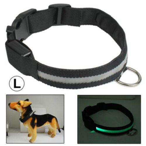 Adjustable 3-Mode LED Flashing Dog Collar, Size: L