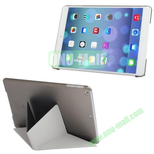 Multi-folding Cloth Texture Leather Cover for iPad Air with Holder & Sleep  Wake-up Function(Black)