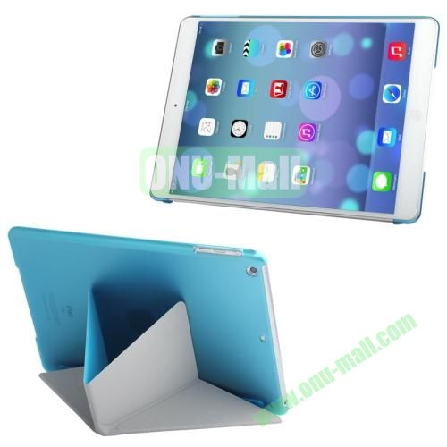 Multi-folding Cloth Texture Leather Cover for iPad Air with Holder & Sleep  Wake-up Function(Blue)