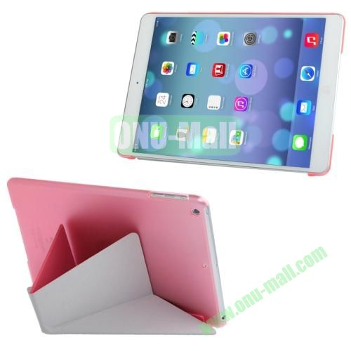 Multi-folding Cloth Texture Leather Cover for iPad Air with Holder & Sleep  Wake-up Function(Rose)