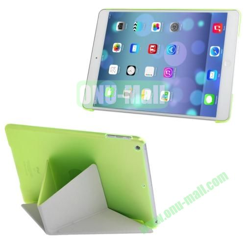 Multi-folding Cloth Texture Leather Cover for iPad Air with Holder & Sleep  Wake-up Function(Light Green)
