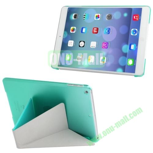 Multi-folding Cloth Texture Leather Cover for iPad Air with Holder & Sleep  Wake-up Function (Green)