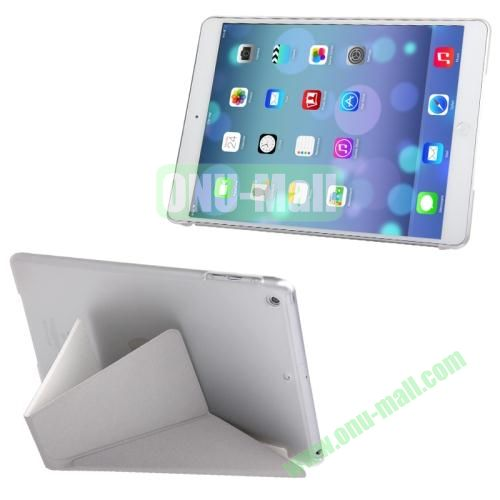 Multi-folding Cloth Texture Leather Cover for iPad Air with Holder & Sleep  Wake-up Function (White)