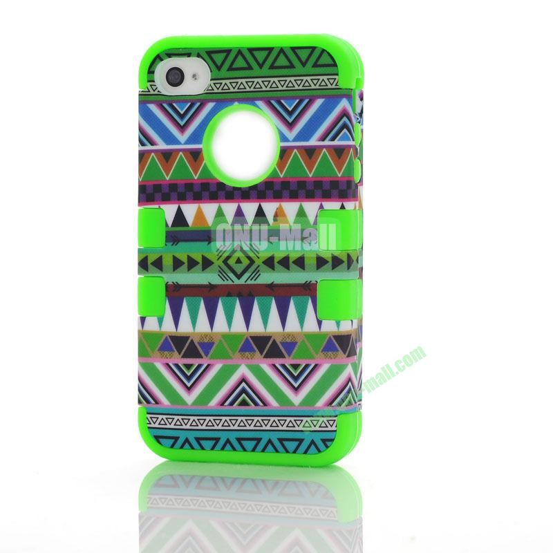 Wholesale Defender Tribe Case 3 in One Protective PC + Silicone Front and Back Cover for iPhone44s ( Green)