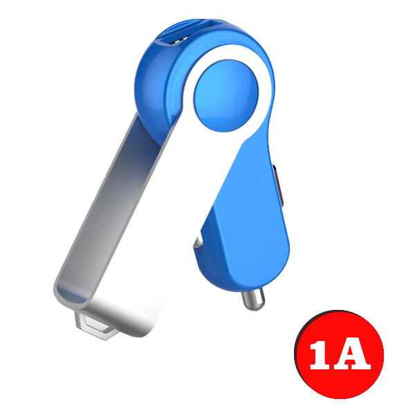 Newest Design 1A USB  Flash Disk Rotation Car Charger (Blue+Silver)