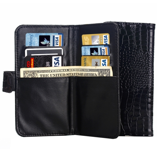 6.0 Inch Universal Crocodile Texture Wallet Style with Card Slots and Lanyard Carry Cases (Black)
