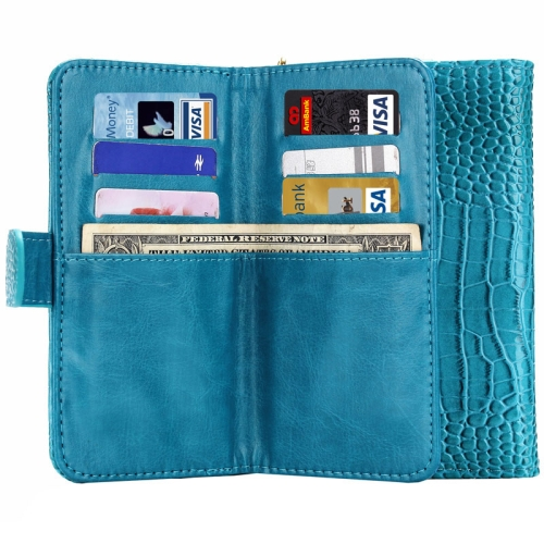 6.0 Inch Universal Crocodile Texture Wallet Style with Card Slots and Lanyard Carry Cases (Blue)