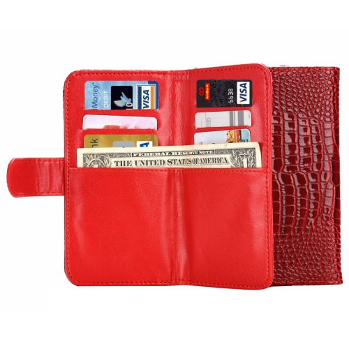 6.0 Inch Universal Crocodile Texture Wallet Style with Card Slots and Lanyard Carry Cases (Red)
