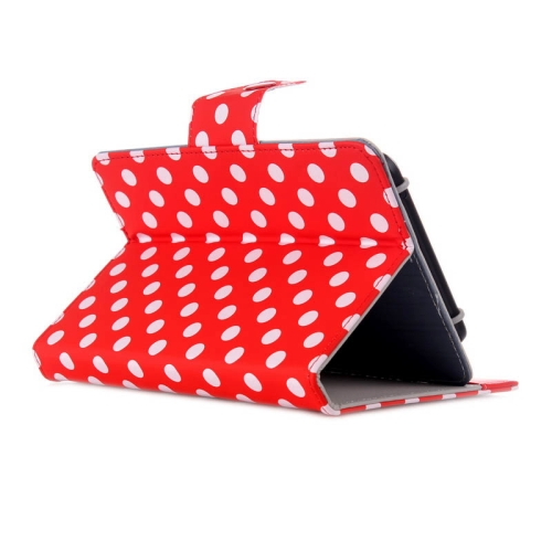 Universal Dot Pattern Horizontal Flip Leather Case with Holder for 7 inch Tablet PC (Red)