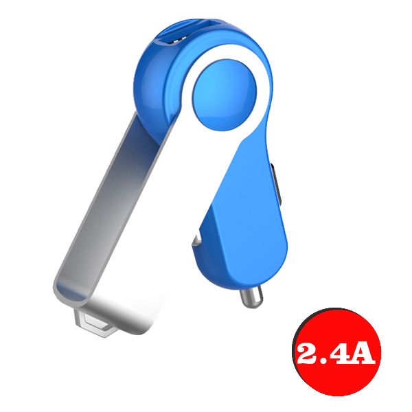 Newest Design 2.4A USB  Flash Disk Rotation Car Charger (Blue+Silver)