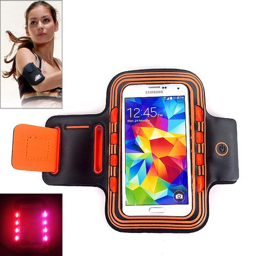 Sport Armband Cover for Samsung Galaxy S5/ G900/ Galaxy S IV/ i9500/ S III/ i9300 with LED Lighting (Orange)