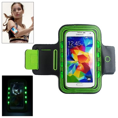 Sport Armband Cover for Samsung Galaxy S5/ G900/ Galaxy S IV/ i9500/ S III/ i9300 with LED Lighting (Green)