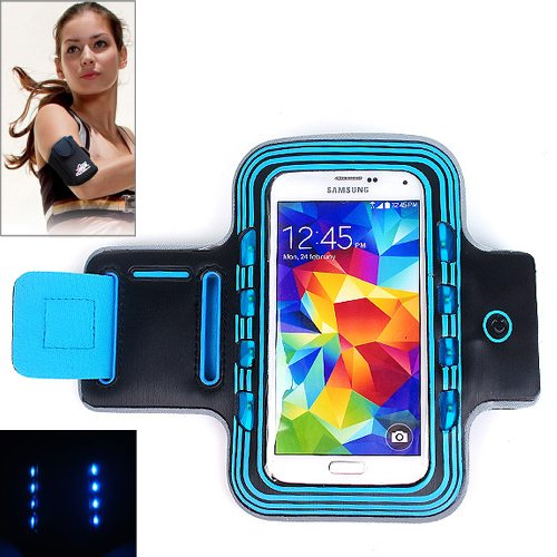 Sport Armband Cover for Samsung Galaxy S5/ G900/ Galaxy S IV/ i9500/ S III/ i9300 with LED Lighting (Blue)