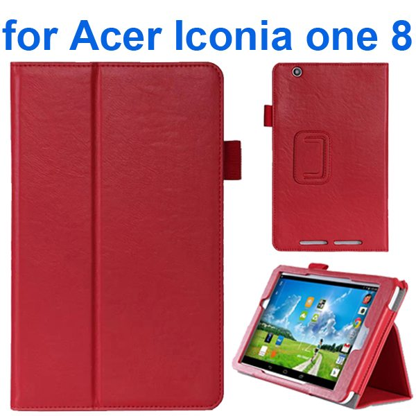 Crazy Texture Flip Stand Leather Case for Acer Iconia One 8 B1-810 (Red)