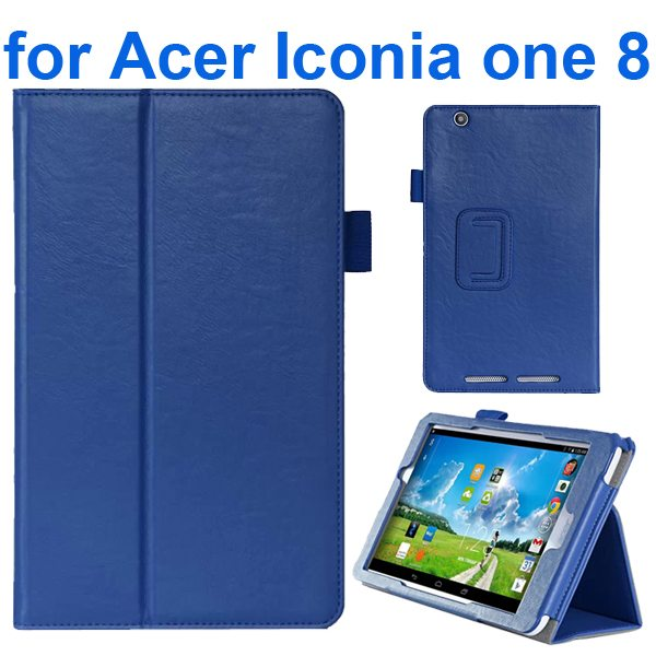 Crazy Texture Flip Stand Leather Case for Acer Iconia One 8 B1-810 (Blue)