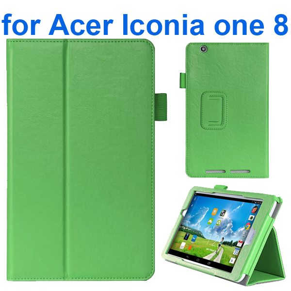 Crazy Texture Flip Stand Leather Case for Acer Iconia One 8 B1-810 (Green)