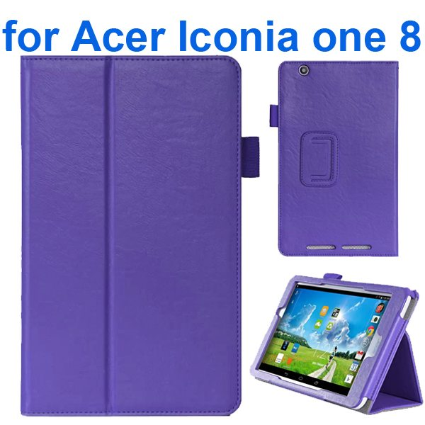 Crazy Texture Flip Stand Leather Case for Acer Iconia One 8 B1-810 (Purple)