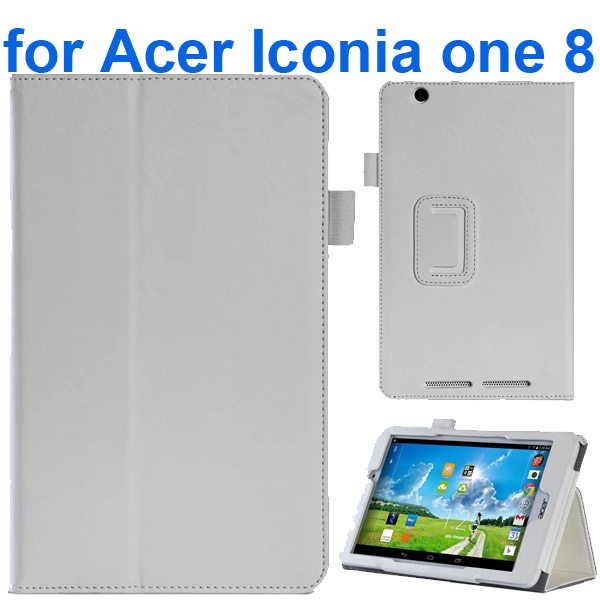 Crazy Texture Flip Stand Leather Case for Acer Iconia One 8 B1-810 (White)