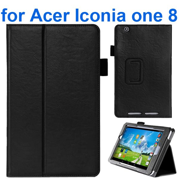 Crazy Texture Flip Stand Leather Case for Acer Iconia One 8 B1-810 (Black)