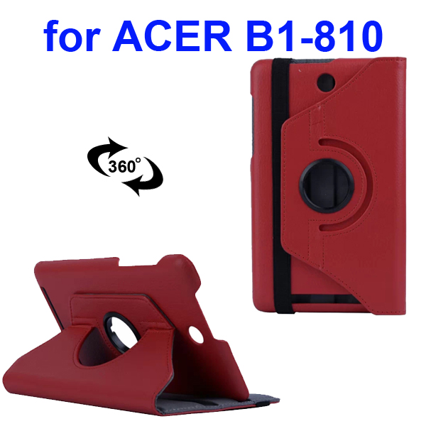 360 Degree Rotatable Smooth Texture PU Leather Case for Acer Iconia One 8 B1-810 (Red)