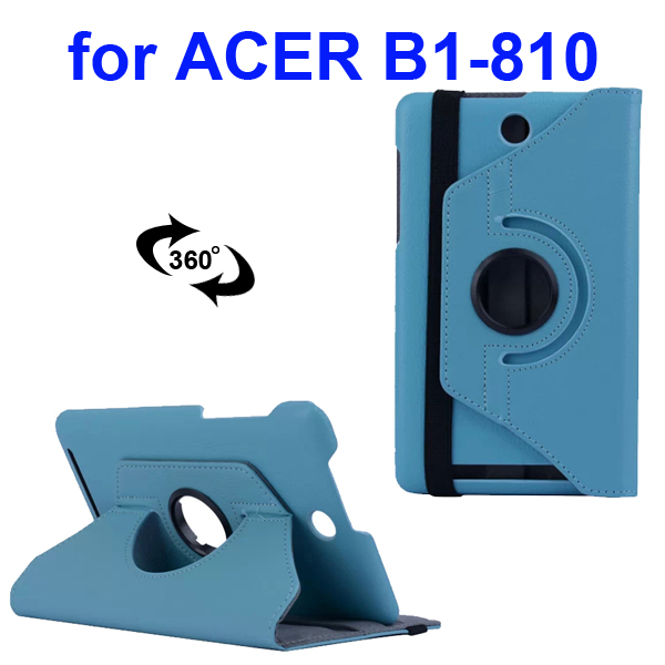 360 Degree Rotatable Smooth Texture PU Leather Case for Acer Iconia One 8 B1-810 (Lght Blue)