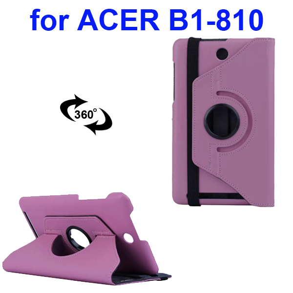 360 Degree Rotatable Smooth Texture PU Leather Case for Acer Iconia One 8 B1-810 (Pink)