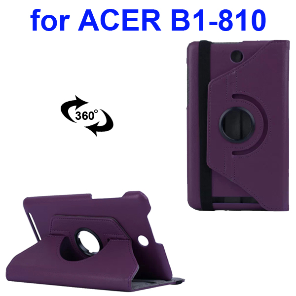 360 Degree Rotatable Smooth Texture PU Leather Case for Acer Iconia One 8 B1-810 (Purple)