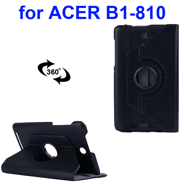 360 Degree Rotatable Smooth Texture PU Leather Case for Acer Iconia One 8 B1-810 (Black)