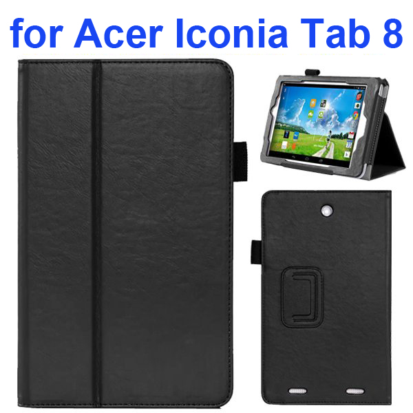 2-folding Pattern Flip Leather Case for Acer Iconia Tab 8 with Filco (Black)
