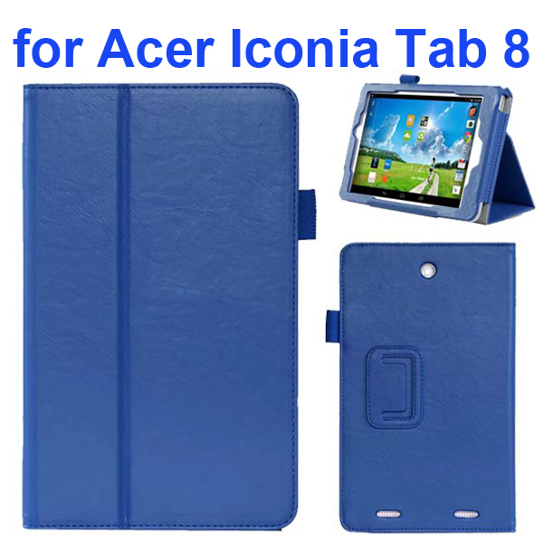 2-folding Pattern Flip Leather Case for Acer Iconia Tab 8 with Filco (Blue)