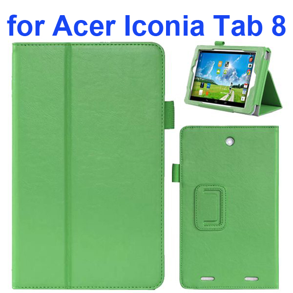 2-folding Pattern Flip Leather Case for Acer Iconia Tab 8 with Filco (Green)