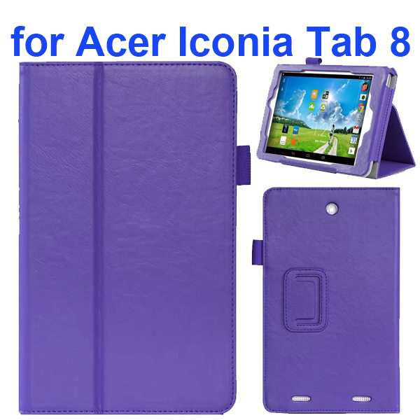 2-folding Pattern Flip Leather Case for Acer Iconia Tab 8 with Filco (Purple)