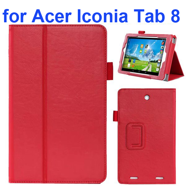 2-folding Pattern Flip Leather Case for Acer Iconia Tab 8 with Filco (Red)