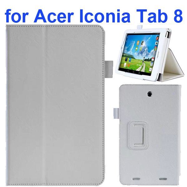 2-folding Pattern Flip Leather Case for Acer Iconia Tab 8 with Filco (White)