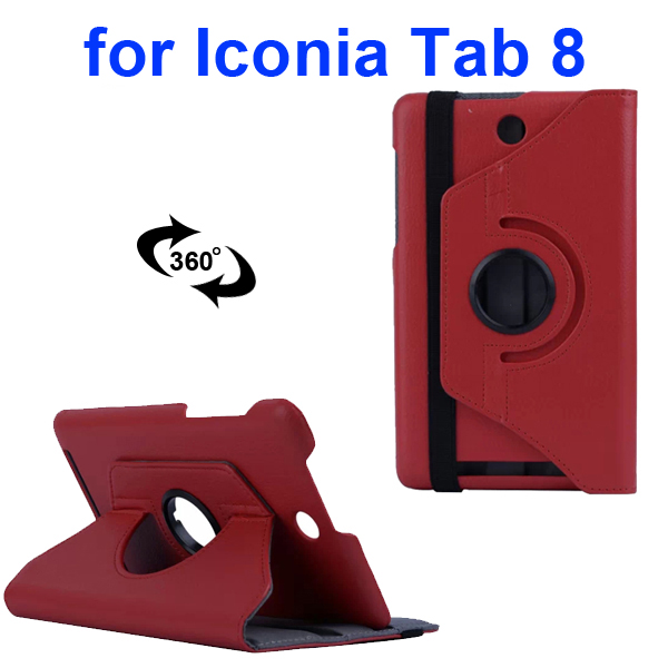 360 Degree Rotation PC Hard Back Cover and PU Flip Leather Case for Acer Iconia Tab 8 W1-810 (Red)