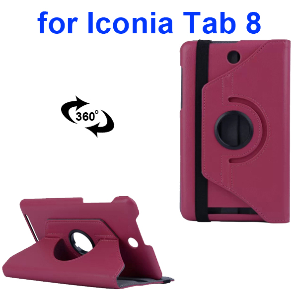 360 Degree Rotation PC Hard Back Cover and PU Flip Leather Case for Acer Iconia Tab 8 W1-810 (Rose)