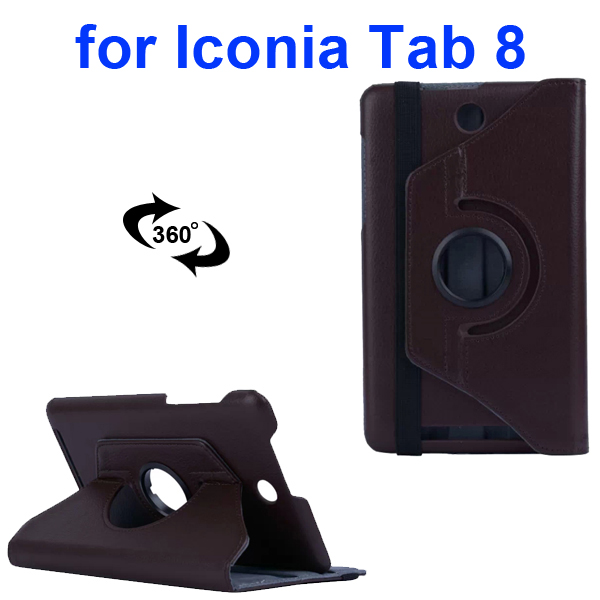 360 Degree Rotation PC Hard Back Cover and PU Flip Leather Case for Acer Iconia Tab 8 W1-810 (Coffee)