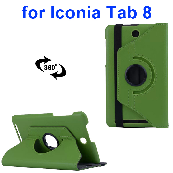 360 Degree Rotation PC Hard Back Cover and PU Flip Leather Case for Acer Iconia Tab 8 W1-810 (Green)