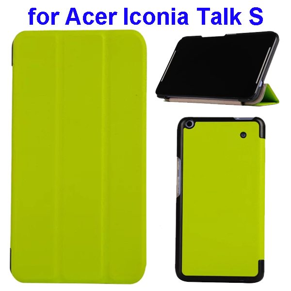Karst Texture Ultrathin 3-folding Flip Protective Leather Cover Case for Acer Iconia Talk S with Stand (Green)
