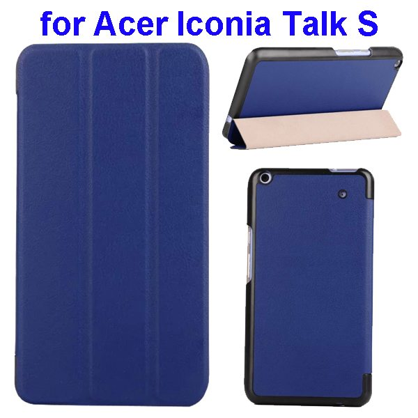 Karst Texture Ultrathin 3-folding Flip Protective Leather Cover Case for Acer Iconia Talk S with Stand (Dark Blue)