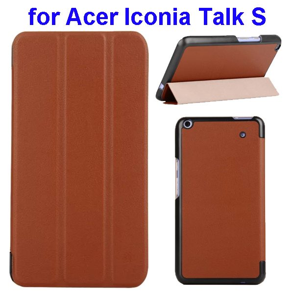 Karst Texture Ultrathin 3-folding Flip Protective Leather Cover Case for Acer Iconia Talk S with Stand (Brown)