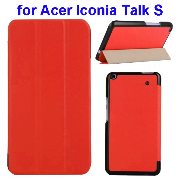 Karst Texture Ultrathin 3-folding Flip Protective Leather Cover Case for Acer Iconia Talk S with Stand (Red)