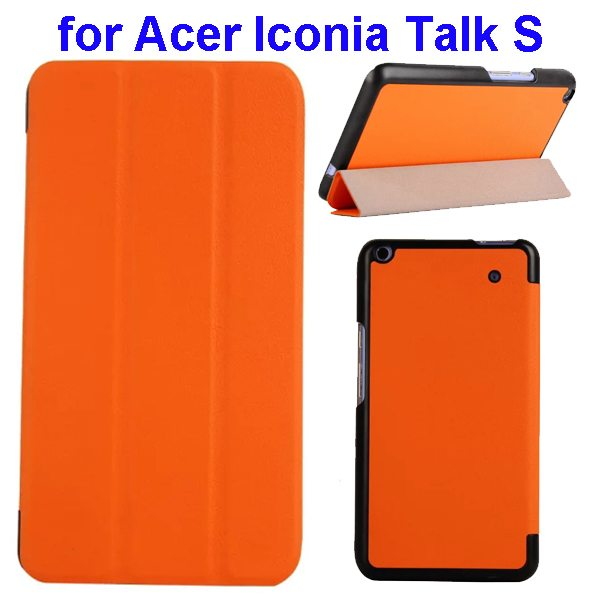 Karst Texture Ultrathin 3-folding Flip Protective Leather Cover Case for Acer Iconia Talk S with Stand (Orange)