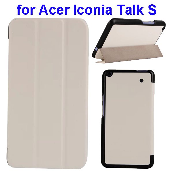 Karst Texture Ultrathin 3-folding Flip Protective Leather Cover Case for Acer Iconia Talk S with Stand (White)
