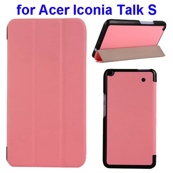 Karst Texture Ultrathin 3-folding Flip Protective Leather Cover Case for Acer Iconia Talk S with Stand (Pink)
