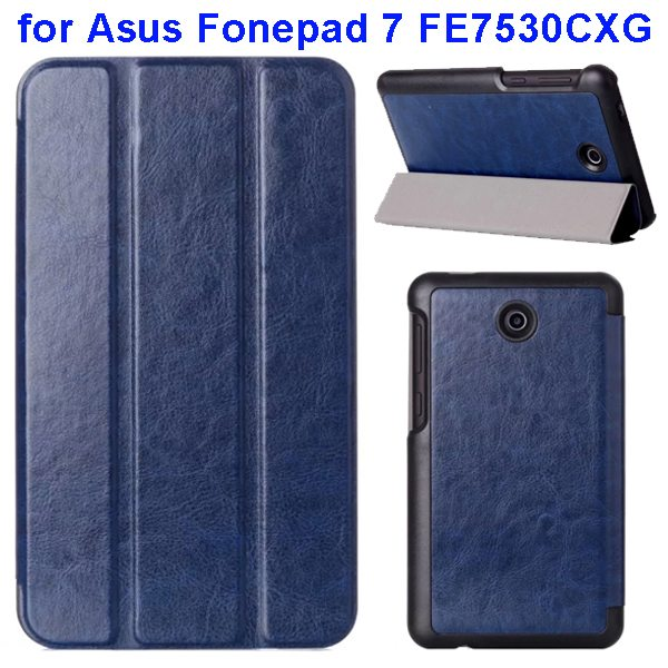 Crazy Horse Texture 3 Folding Pattern Flip Leather Case for Asus Fonepad 7 FE7530CXG (Blue)