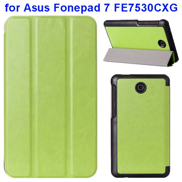 Crazy Horse Texture 3 Folding Pattern Flip Leather Case for Asus Fonepad 7 FE7530CXG (Green)