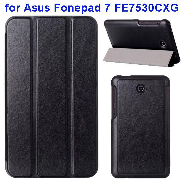 Crazy Horse Texture 3 Folding Pattern Flip Leather Case for Asus Fonepad 7 FE7530CXG (Black)