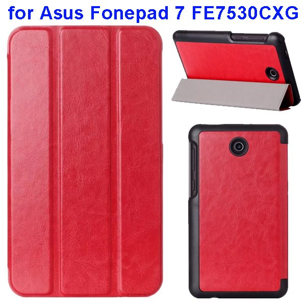 Crazy Horse Texture 3 Folding Pattern Flip Leather Case for Asus Fonepad 7 FE7530CXG (Red)