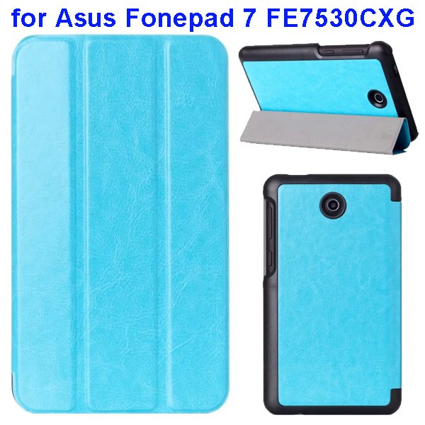 Crazy Horse Texture 3 Folding Pattern Flip Leather Case for Asus Fonepad 7 FE7530CXG (Baby Blue)